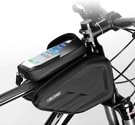 Bolsa De Cuadro De Bicicleta Bolsa De Tubo Impermeable Para Bicicleta Bolsas Superiores-Pantalla Táctil + Estuche Resistente + Bolsillo De Velcro Reflectante Grande Y Seguro De Safty (6.0