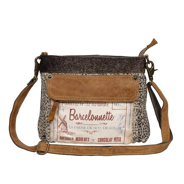 Amazon.com: Myra Bag La Farine S-1247 - Bolsa de lona y piel ...