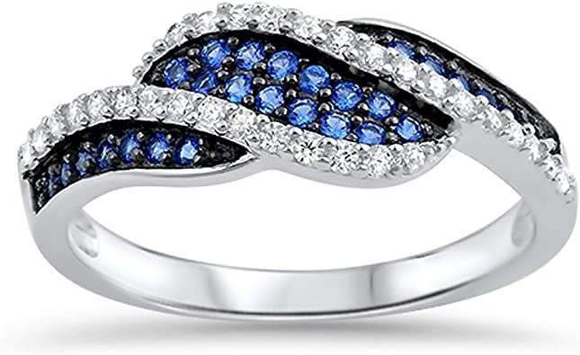 Women/'s Blue Sapphire CZ Cute Ring New .925 Sterling Silver Band Sizes 5-10