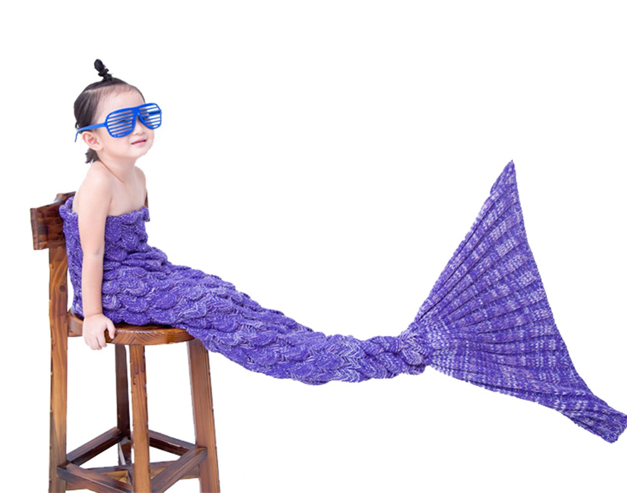 Airdom Mermaid Tail Blanket for Kids Toys Little Crochet Mermaid Blankets Best Birthday for Girls All Seasons Sleeping Throws 55.18 inch x 27.56 inch(A-Scaly-kids-Bright Purple)