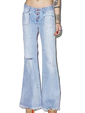 discover latest trends limited price get online BIUBIONG Women's Bleeker Crop Flare Bell Bottom Ripped Jeans ...