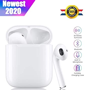 Auriculares Bluetooth Auriculares inal/ámbricos Auriculares intrauditivos Auriculares est/éreo con micr/ófono y Estuche de Carga compatibles con Apple Airpods Android//iPhone