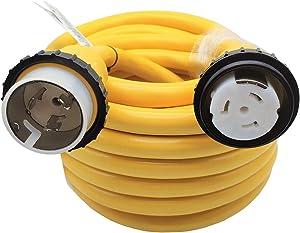 Parkworld 60950 Marine Shore Power Extension Cord 50 AMP SS2-50P to SS2-50R, Marine Shore Power Cord SS2-50 Male to Female 50A 125V/250V (50FT)