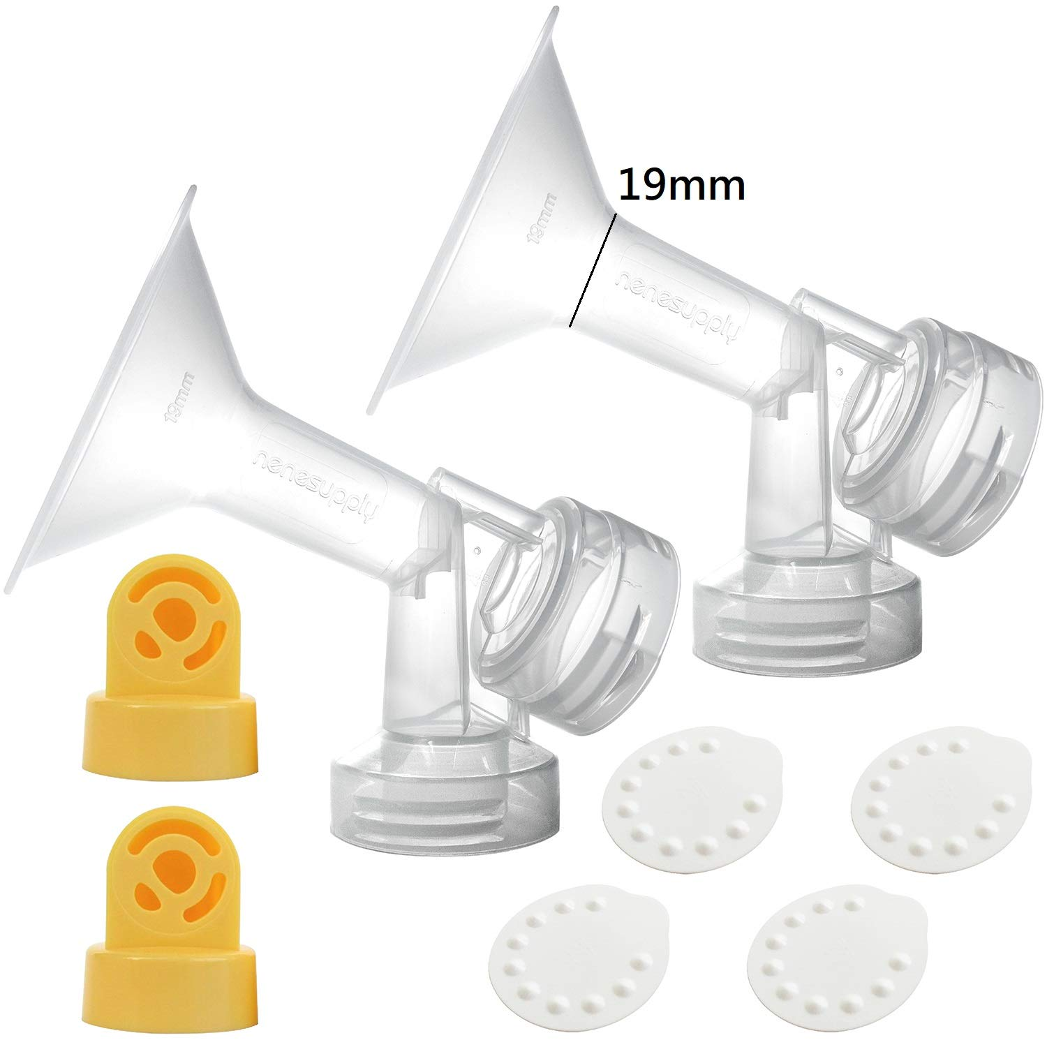 Nenesupply Compatible Pump Parts for Medela Breastpump Not Original Medela Pump Parts 19mm Breastshield Valve Membrane for Medela Pump in Style Medela Symphony Medela Swing Replace Medela Breastshield by NENESUPPLY