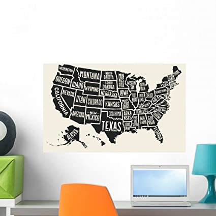 Wallmonkeys Poster Map United States Wall Mural Peel and Stick Vinyl ...