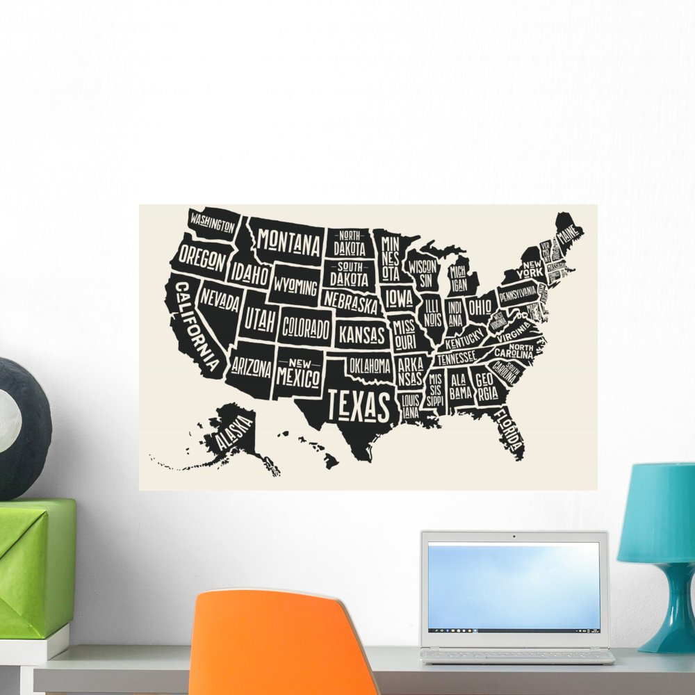 Wallmonkeys Poster Map United States Wall Mural Peel and Stick Vinyl Graphic (24 in W x 16 in H) WM376332