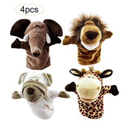 "Animal Hand Puppets, Premium Quality with Movable Open Mouths, 9.5"" Soft Plush Hand Puppets for Kids, Perfect for Storytelling Teaching Preschool Role-Play, 4-Piece Set - Elephant Lion Giraffe Puppy: Home & Kitchen"