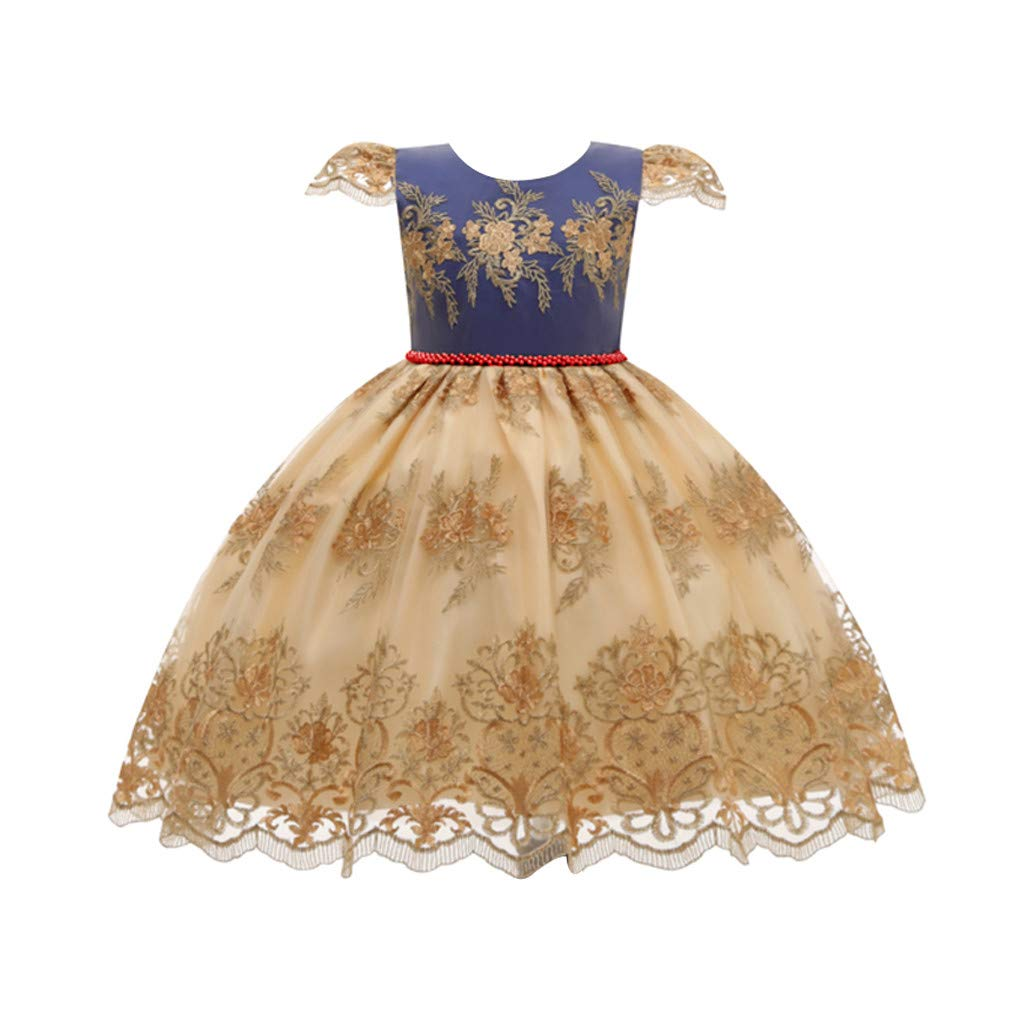 Sameno Toddler Kids Girls Embroidery Flower Princess Dress 2-8t Beaded Tulle Puffy Tutu Pageant Party Evening Ball Gown Gold by SamXmasBaby