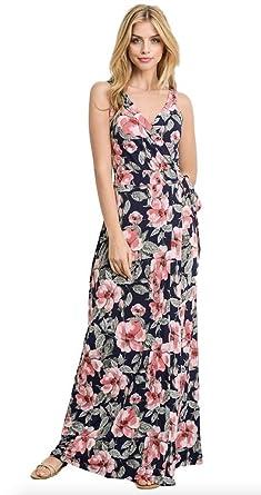 000b61fcde Gilli Women s Sleeveless Faux Wrap Patterned Stretch Knit Maxi Dress  (Large