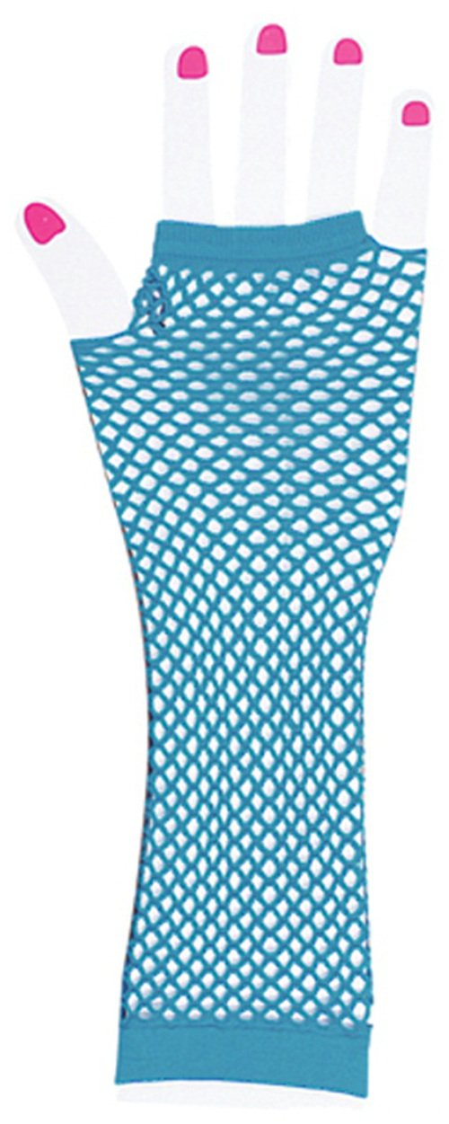 Adults New Blue 80s Punk Rock Fishnet Fingerless Long Gloves