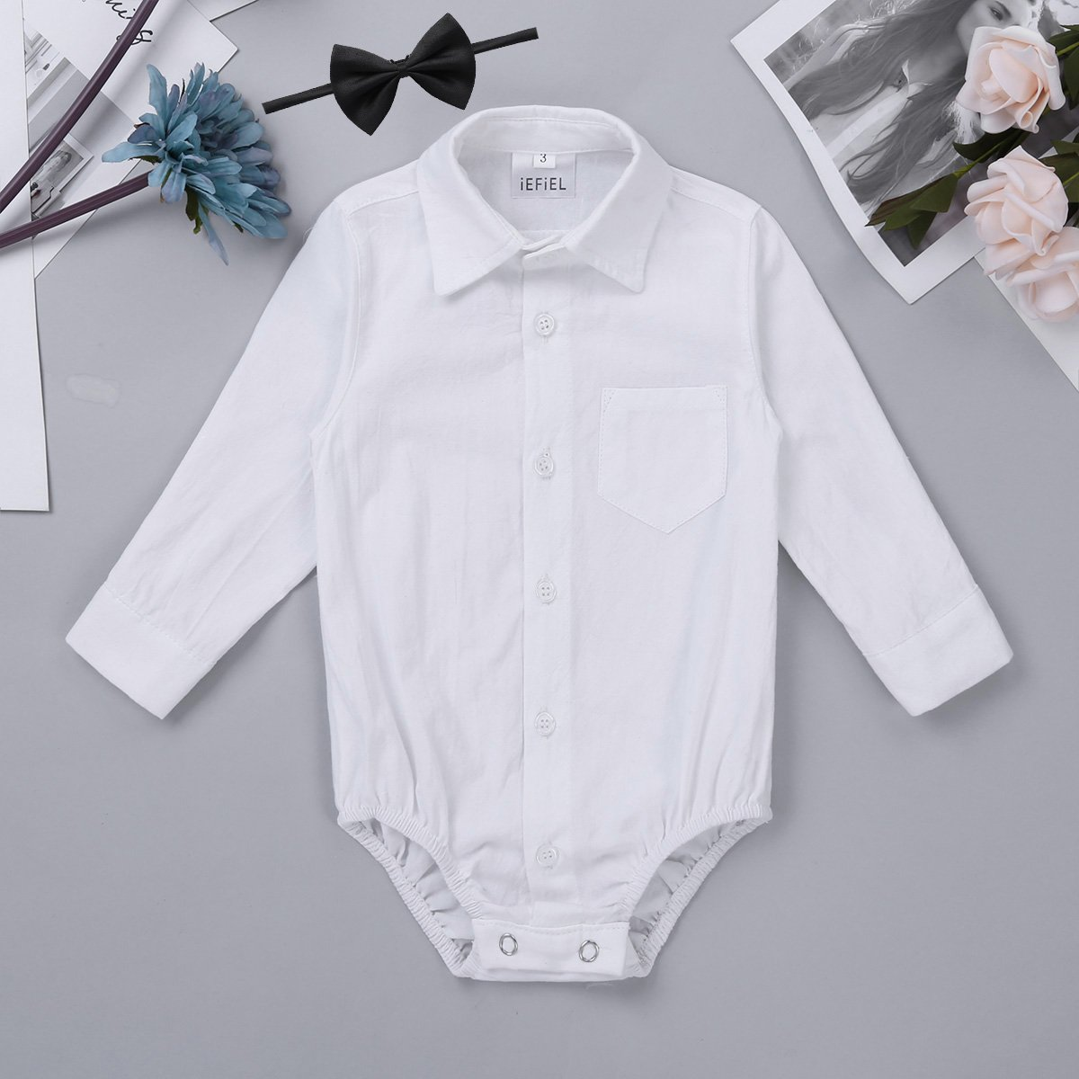 iEFiEL Infant Baby Boys Long//Short Sleeves Gentleman Romper Jumpsuit Formal Dress Shirt Bodysuit