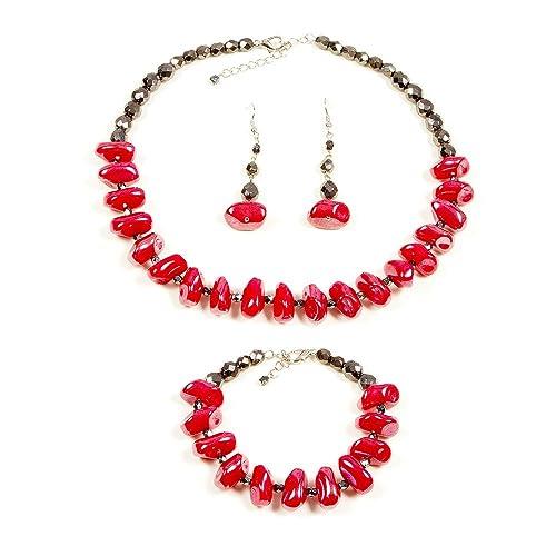 3fe1c2506b0b Conjunto joyas rojo negro collar pendientes y pulsera de mujer bisutería  vidrio para ropa de verano  Amazon.es  Joyería