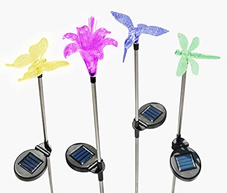 Solaration KB1041 Solar Stake Flower, Hummingbird, Butterfly And Dragonfly  Garden Stake Lights, Four