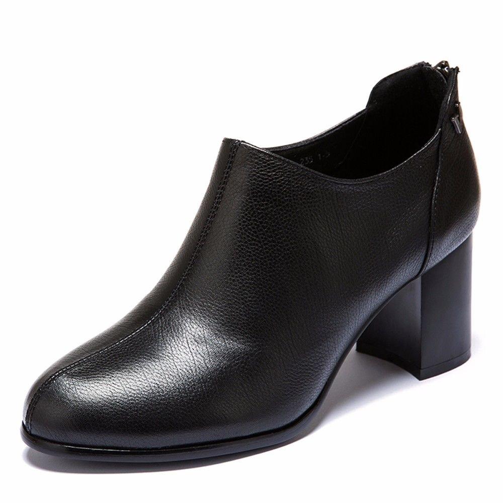 HBDLH Dicke Sohle Frühling 7Cm Hohen Ferse Damenschuhe Frühling Sohle Komfortable Tiefe Mund Einzelne Schuhe Leder und Schuhe. schwarz 3098f2