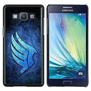 KLONGSHOP // Cubierta de piel con cierre a presión Shell trasero duro de goma Protección Caso - Alas Azules - Samsung Galaxy A5 A5000 //