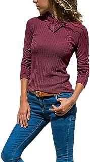 Vêtements d'Hiver Femme, Honestyi Femme De Couleur Unie Mode Sweat à Capuche Imprimé Col De Revers à Manches Longues Sweat Tops Bouton De Chemise Slim Pull Vetement