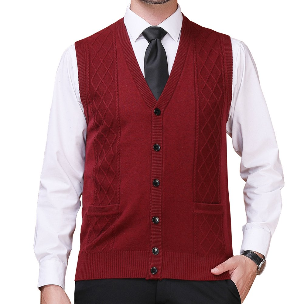 FULIER Mens Winter Wool V-Neck Gilet Sleeveless Vest Waistcoat Casual Gentleman Warm Business Knitwear Cardigans Knitted Sweater Tank Tops (L, Red)