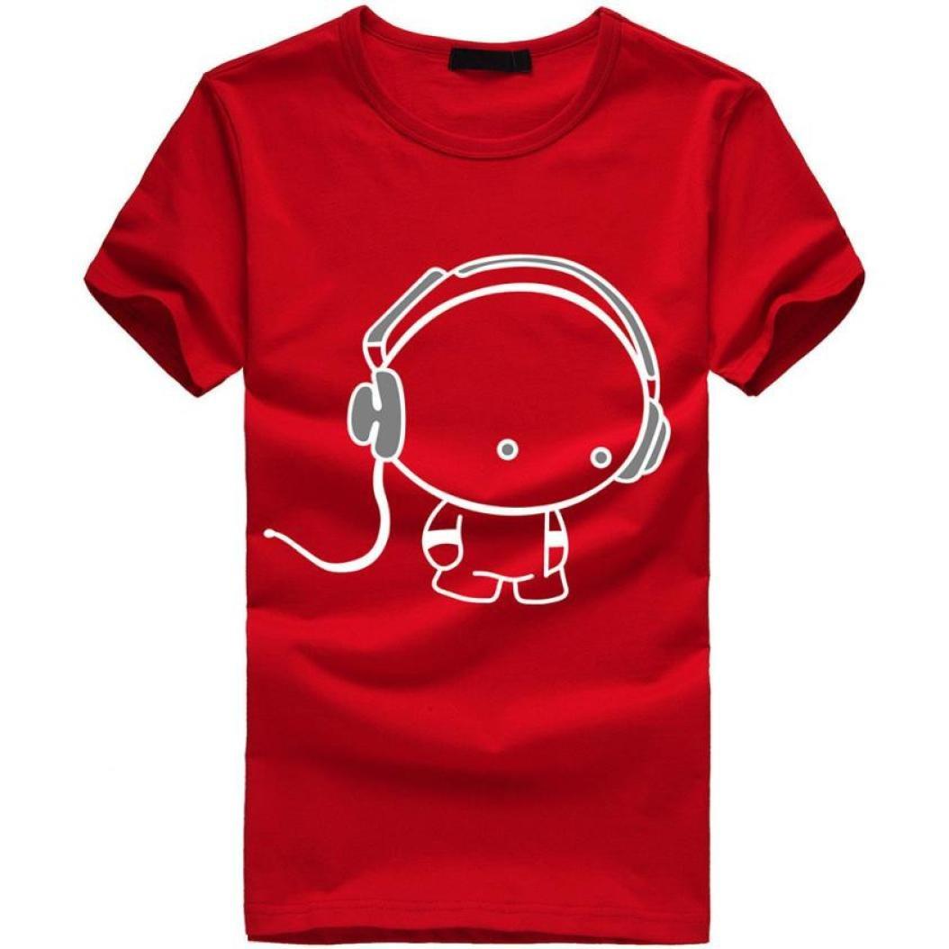 b423a5e80c49a Amazon.com: Gocheaper Printed T Shirts For Men Stylish,New Men Boy Casual  Earphone T Shirt Short Sleeve Cotton Tops: Clothing