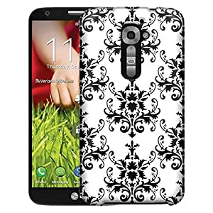 LG Verizon G2 Case, Slim Fit Snap On Cover by Trek Damasks Pattern Black on White Case