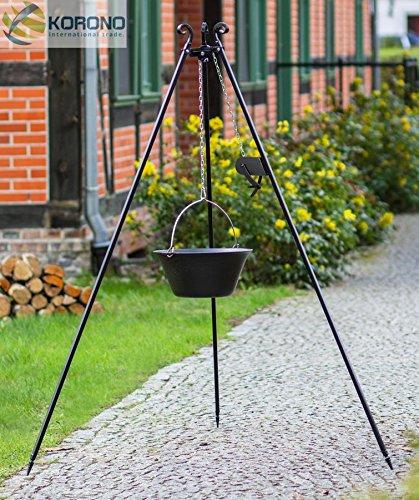 Schwenkgrill - 1,80m mit Kurbel incl. 16l Gusseisen-Topf