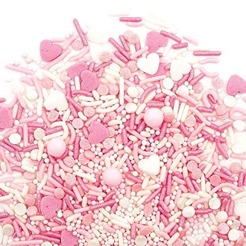 Valentine's Sprinkles | Pretty In Pink Sprinklefetti 8oz | Pink White Hearts | Gluten Free Nut Free Dairy Free