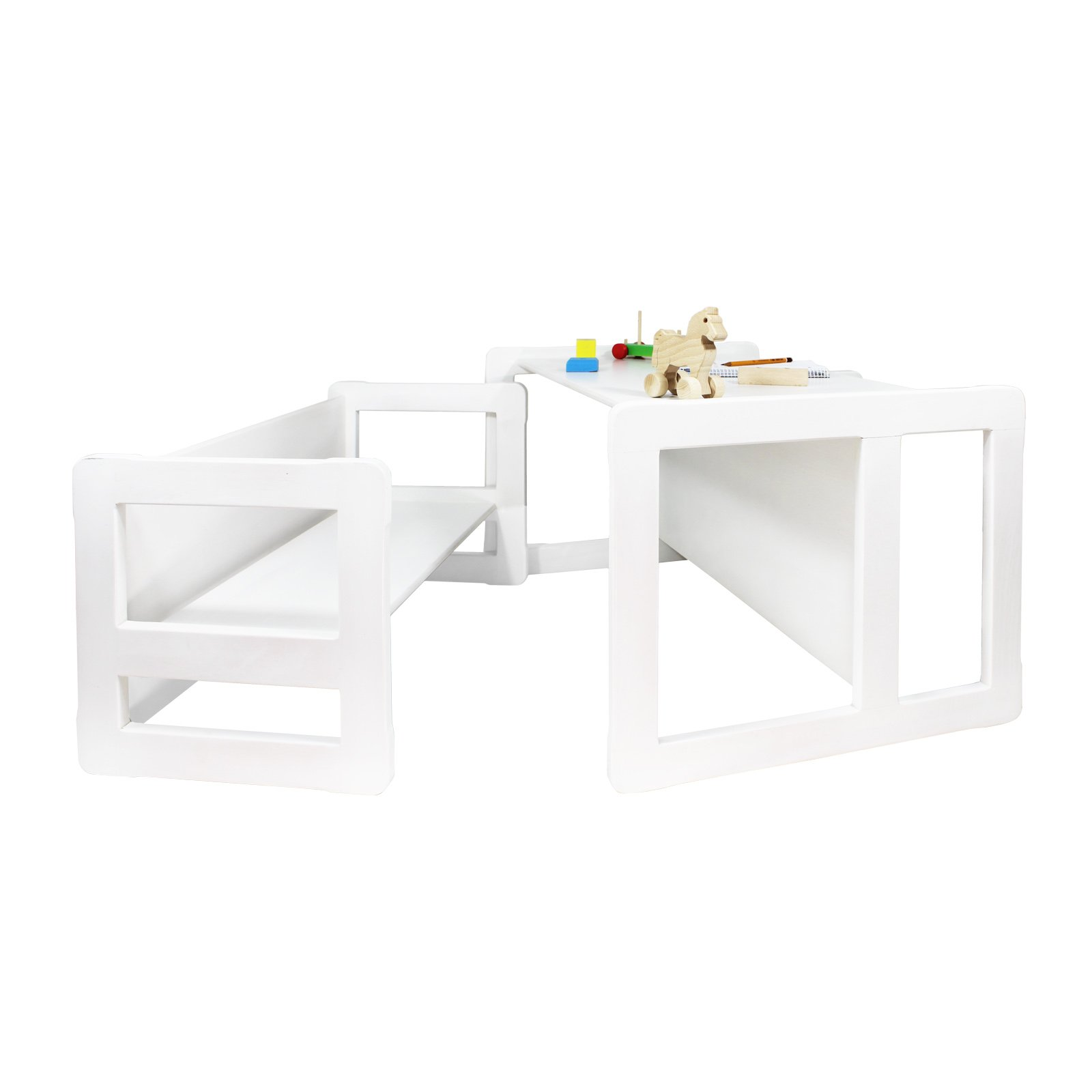 3 in 1 Childrens Multifunctional Furniture Set of 2, One Small Bench or Table and One Large Bench or Table Beech Wood, White Stained by Obique Ltd (Image #2)