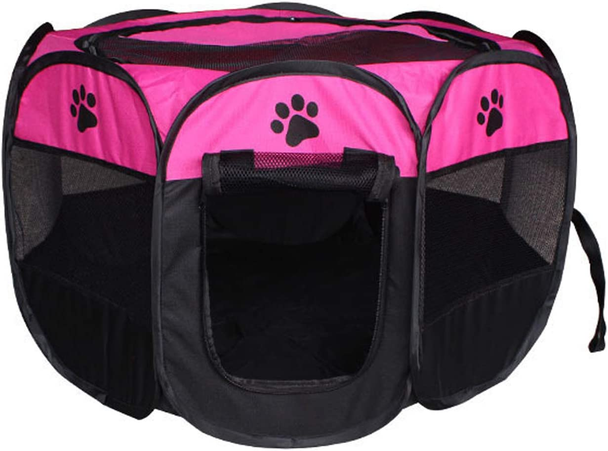 GabeFish Pets Portable Foldable 8-Panels Playpen Kennel with Top Dogs Removable Washable Soft Pen