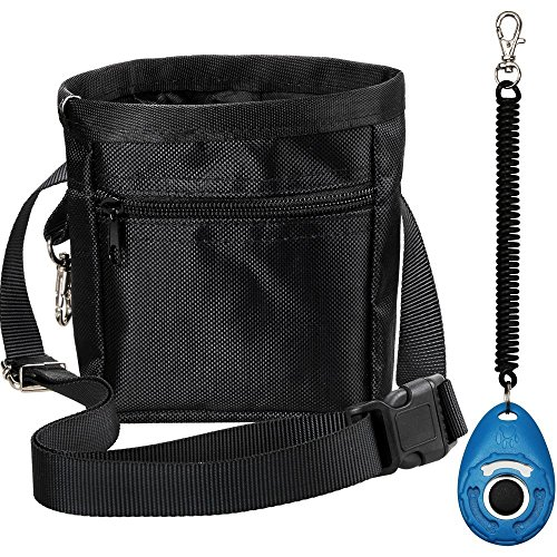 Zacro Dog Treat Training Pouch Bag with Adjustable Strap and One Set of Training Clicker