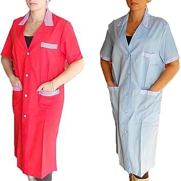 Bata de mujer de escuela y trabajo para maestras, limpiadoras, operarios de fábrica y botones, rojo, S: Amazon.es: Deportes y aire libre