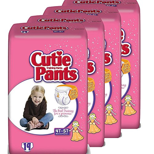 Cutie Pants Toddler Training Pants (Girls, Size 4T - 5T, 19-Count), Pack of 4
