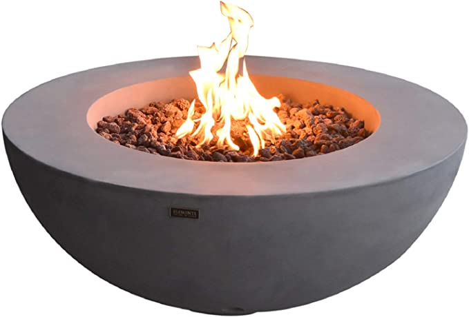 Amazon Com Elementi Lunar Bowl Outdoor Fire Pit Table 42 Inches Round Firepit Concrete Patio Heater Electronic Ignition Backyard Fireplace Cover Lava Rock Included Liquid Propane Garden Outdoor