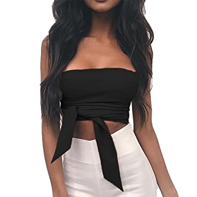 983461f757d Antopmen Women Sexy Off Shoulder Tube Sleeveless Bandage Crop Tops Tank Tops  (Small