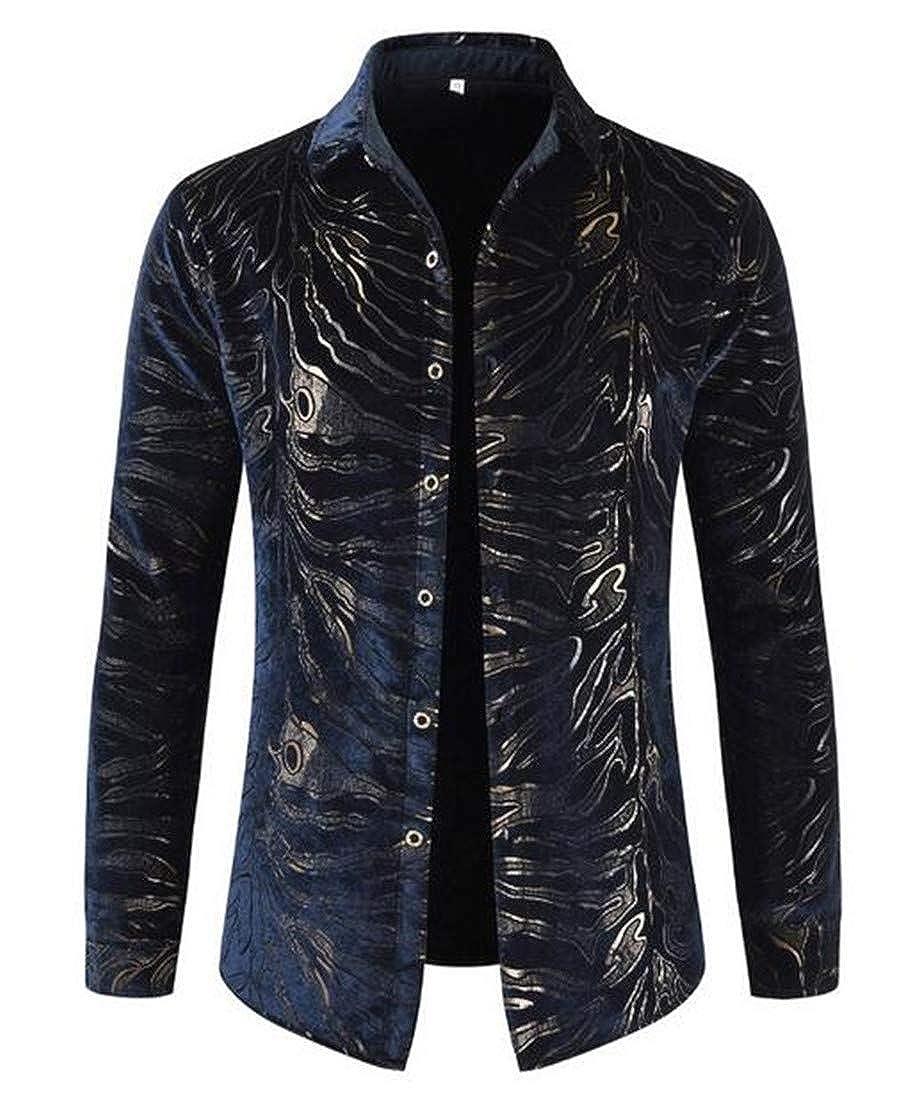 Nanquan Men Long Sleeve Fleece Print Thick Fall-Winter Boyfriend Button up Shirts