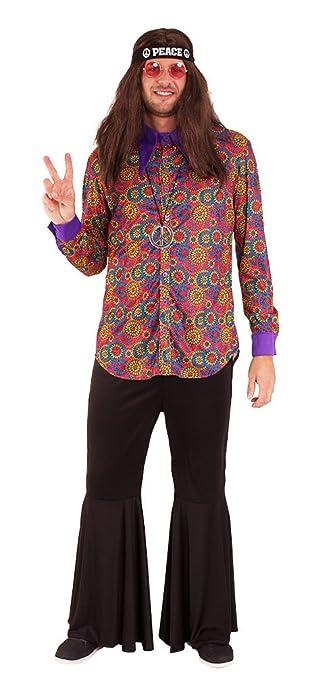 Karneval Klamotten Hippie Kostum Herren Hemd Flower Power Kostum