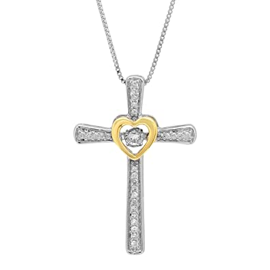 33c31faa846d Sterling Silver and 14k Yellow Gold Genuine Dancing Diamond Cross and Heart Pendant  Necklace (1