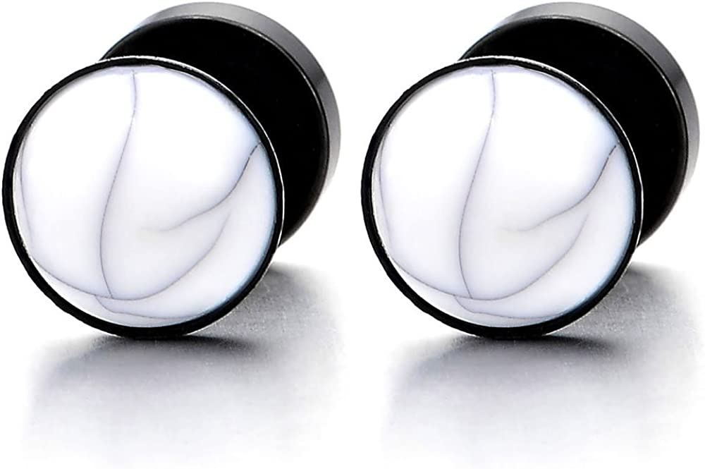 2 Enchufe Falso Fake Cheater Plugs Gauges con Piedra Preciosa Bola, Pendientes de Hombre Mujer, Acero Inoxidable