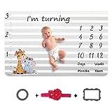 "Baby Monthly Milestone Blanket - 60"" x 40"" Flannel"