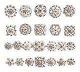 Your Perfect Gifts 24 pcs Silver Rhinestone Brooch Crystal Brooch Wedding Invitation Cake Decoration Brooch Bouquet Kit Wholesale AMBR679
