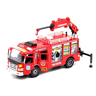 Xolye 1:50 Alloy Openable Fire Truck Fire Rescue Vehicle Model Pull Back Engineering Car Boy Toy Car Inertial Sliding Metal Anti-Fall Toy Car: Home & Kitchen