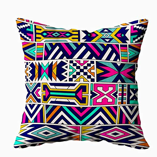 Musesh Throw Pillow Covers, Retro Colors Tribal Pattern Abstract Geometric Art Print Ethnic Background Cloth Design Fabric Paper Textile for Sofa Home Decorative Pillowcase 18X18Inch Pillow Covers