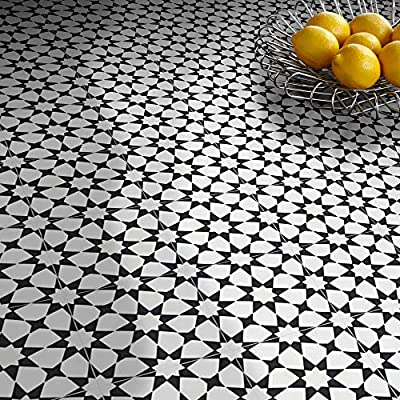 Moroccan Mosaic & Tile House CTP18-03 Medina 8''x8'' Handmade Cement Tile,Pack of 12, 8, White and Black