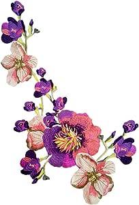 Parche decorativo con dise/ño de flores bordadas morado Monbedos