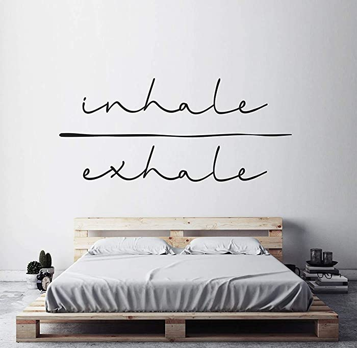 "Inhale Exhale Art Typography Sticker Minimalist Art Spiritual Decal Bedroom Wall Sticker Wall Art Decal Yoga Studio Decor (18"" T x 40"" W)"