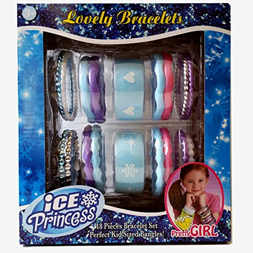 [Ice Princess Lovely Bracelets 18 Pieces in Light Blue Color with Silver Accents (Assorted Sizes, Colors, Shapes & Styles For Everyday to Formal] (Creative Do It Yourself Halloween Costume Ideas)