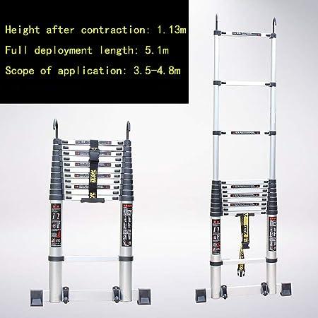 NICOLAS Escalera Telescópica Escalera Casera Plegable De Aleación De Aluminio 4 5 6 M Escalera De Elevación De Ingeniería Escalera Loft Escalera Recta Palabra Escalera (Size : 5.1 m): Amazon.es: Hogar