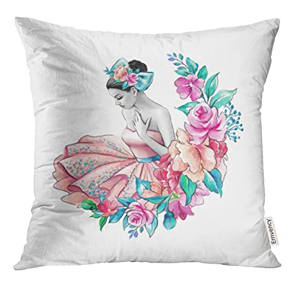 5d659197df UPOOS Throw Pillow Cover Ballet Watercolor Flower Girl Floral Wedding Young  Lady Portrait Pink Dress Ballerina