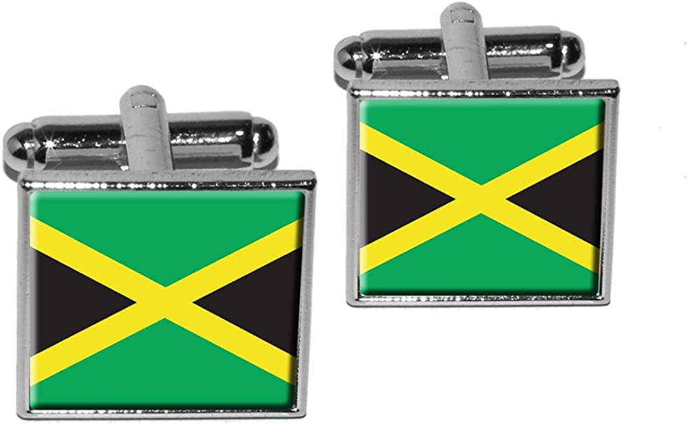 Graphics and More Jamaica Jamaican Flag Square Cufflink Set - Silver
