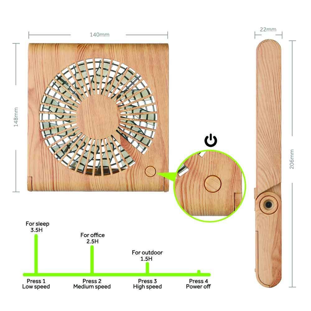 GeeRic Ventilateur de Bureau Mini USB Ventilateur Pliant Silencieux Ventilateur Portable Rechargeable pour Table PC Maison Bureau Biblioth/èque Voyage avec 3 Vitesse Brun Fonc/é