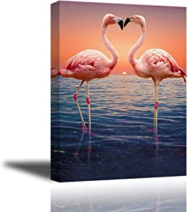Pink Flamingo Wall Art for Bedroom, Romantic Lover Kiss on Sunset Ocean Canvas Painting Decor, Elegant Birds Picture,One Life-One Love,(Waterproof, Bracket Mounted Ready to Hang, 1