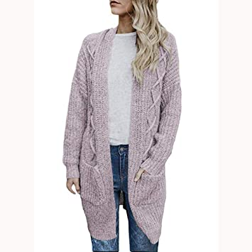 8a1b41bc66fc36 HOSOME Women Cardigans Sweater Open Front Long Sleeve Chunky Cable Knit  Long Pockets Coat